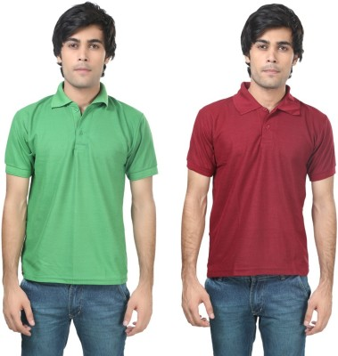 Stylish Trotters Solid Men's Polo Light Green, Maroon T-Shirt