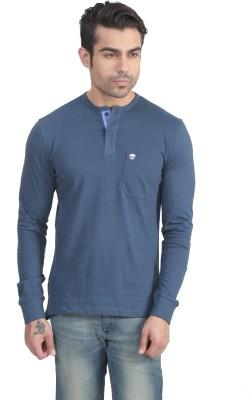 John Players Solid Men's Henley Blue T-Shirt
