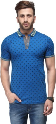 Ausy Printed Men's Polo Blue T-Shirt