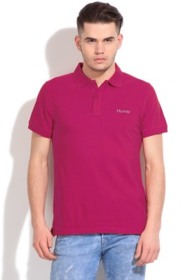 Hurray Solid Men's Polo Neck Red T-Shirt