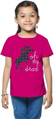 So Sweety Printed Girl's Round Neck Pink T-Shirt