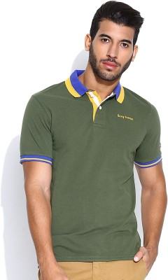 Being Human Clothing Solid Men's Polo Green T-Shirt
