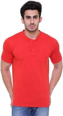FREE RUNNER Solid Men's Round Neck Red T-Shirt