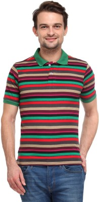 Global Nomad Striped Men's Polo Neck Green, Purple, Red T-Shirt