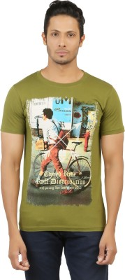 LEVELS Printed Men,s Round Neck Green T-Shirt