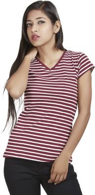 Defossile Striped Women's V-neck T-Shirt