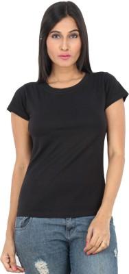 F FASHIONSTYLUS Solid Women's Round Neck Black T-Shirt