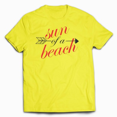 Designmycloth Graphic Print Men's Round Neck Yellow T-Shirt