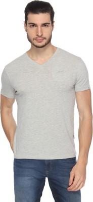 Lee Solid Men's V-neck Grey T-Shirt