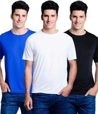 Superjoy Solid Men's Round Neck Black, Blue, White T-Shirt