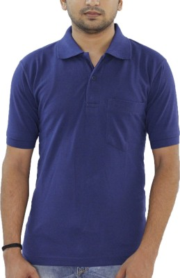 Grey Tree Solid Men,s Polo Neck Dark Blue T-Shirt