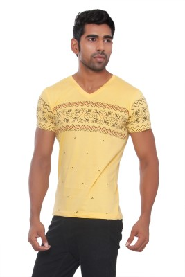 Pezzava Self Design Men's V-neck Reversible Yellow, Red T-Shirt