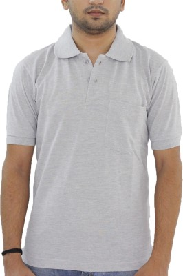 Grey Tree Solid Men,s Polo Neck Grey T-Shirt