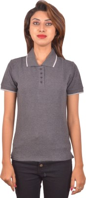 Blueash Self Design Women's Polo Neck Grey T-Shirt