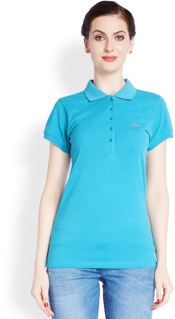 Park Avenue Solid Womens Flap Collar Neck Light Blue T-Shirt
