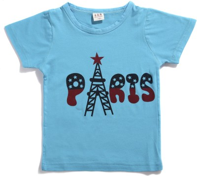 Zonko Style Solid Baby Girl's Round Neck Blue T-Shirt