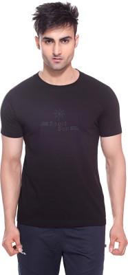 Sport Sun Solid Men's Round Neck Black T-Shirt
