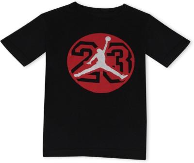 Jordan Graphic Print Boy's Round Neck Black T-Shirt