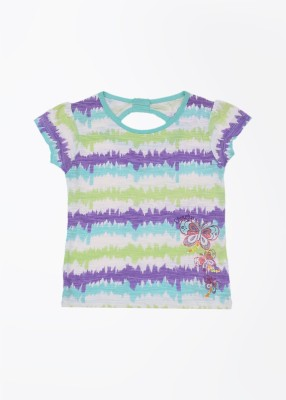 Cherokee Kids Striped Girl's Round Neck White, Green, Purple T-Shirt