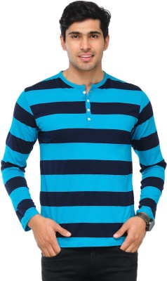 TSX Striped Men's Henley Light Blue, Dark Blue T-Shirt