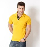 Riverstone Solid Men's Polo Neck Yellow ...