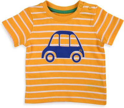 Mothercare Striped Baby Boy's Round Neck Yellow T-Shirt