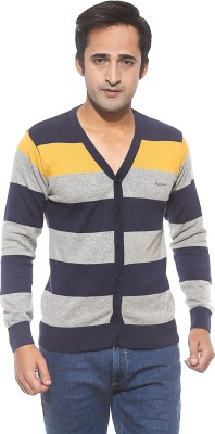 Pepe Striped Men's V-neck Gold T-Shirt