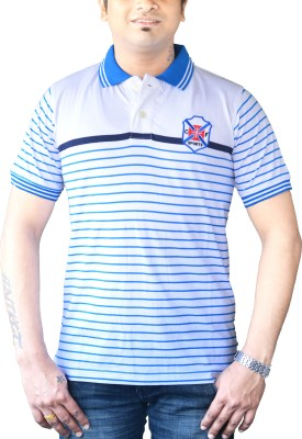 CAPRICIOUS Striped Men's Polo Neck White, Blue T-Shirt