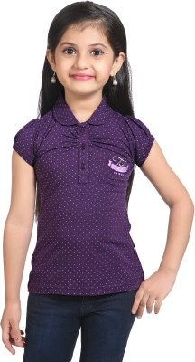 Triki Polka Print Girl's Flap Collar Neck Purple T-Shirt