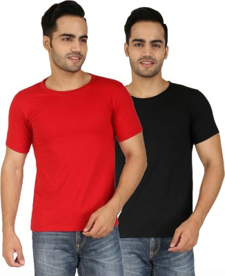 Faded Finch Solid Men's Round Neck Red, Black T-Shirt