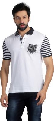 Nostrum Jeans Solid Men's Polo Neck White, Dark Blue T-Shirt