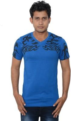 Lampara Printed Men's V-neck Blue T-Shirt