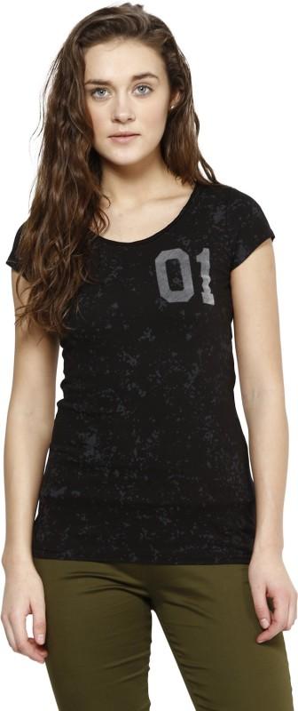 PUNK Printed Women's Round Neck Black T-Shirt
