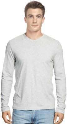 Hueman Solid Men's Round Neck Grey T-Shirt