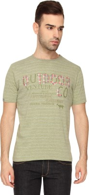 Crocodile Applique Men,s Round Neck Brown T-Shirt