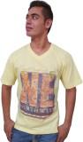Port Blair Printed Men's V-neck Yellow T...