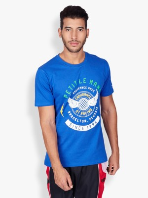 2go Printed Men's Round Neck Blue T-Shirt
