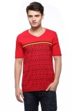 Fasnoya Printed Men's V-neck Red T-Shirt
