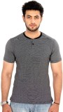 Bongio Striped Men's Henley Black T-Shir...