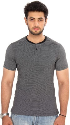 Bongio Striped Men's Henley Black T-Shirt