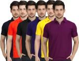Krazy Katz Solid Men's Polo Neck Multico...