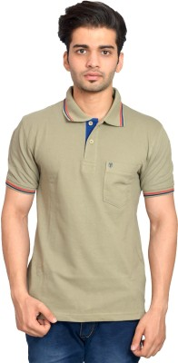 Urban Trail Solid Men's Polo Neck Green T-Shirt
