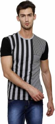 Crux&Hunter Striped Men's Round Neck Grey T-Shirt