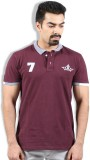 Goswhit Solid Men's Polo Neck Maroon T-S...