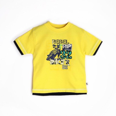 Mee Mee Graphic Print Boy's Round Neck Yellow T-Shirt