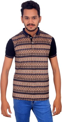 BOMBAY BLUES Printed Men's Polo Neck Beige T-Shirt