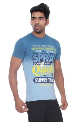 Pezzava Self Design Men's Round Neck Reversible Blue, White T-Shirt