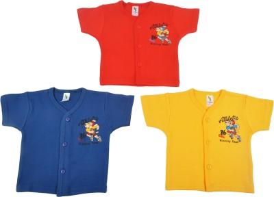 Cucumber Printed Baby Boy's Round Neck Orange, Blue, Yellow T-Shirt