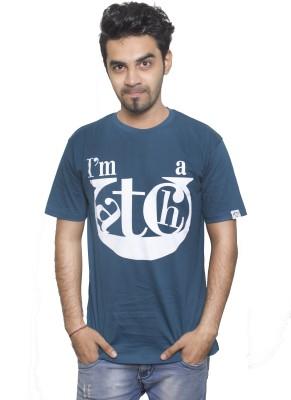 Tee Hive Graphic Print Men's Round Neck Dark Blue T-Shirt