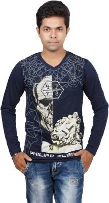 JG FORCEMAN Printed Men's V-neck Blue T-Shirt